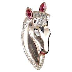 CoroCraft Coro Sterling Thoroughbred Horse Head Rhinestone Enamel Fur Clip