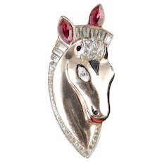 CoroCraft Coro Sterling Thoroughbred Horse Head Rhinestone Enamel Fur Clip