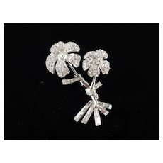 Pave Rhinestone Double Flower Blossom Brooch Pin Baguette Base