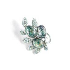 Rhinestone Glass Faux Emerald Opal Cabochon Brooch Pin