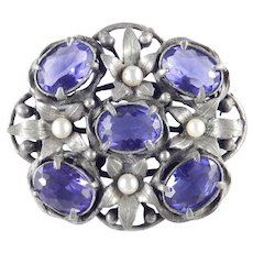 Large Colored Stone Faux Pearl Floral Shield Brooch Pin