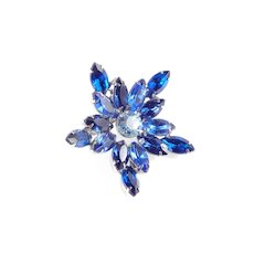 Blue Rhinestone Star Brooch Pin
