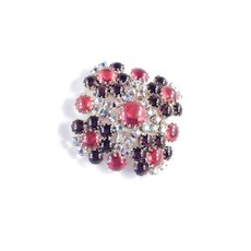 Rhinestone Red Glass Cabochon Brooch Pin