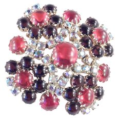 Rhinestone Red Glass Cabochon Brooch Pin