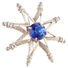Eight Point Star Brooch Pin Huge Dentelle Stone