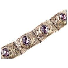 Victorian Revival Rhinestone Faux Amethyst Hinged Panel Bracelet