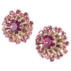Miriam Haskell Red Rhinestone Earrings