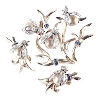 Boucher Sterling Silver Vermeil Rhinestone Faux Pearl Bumble Bee Brooch Pin Earrings Set