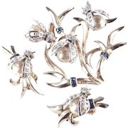 Boucher Sterling Silver Vermeil Rhinestone Faux Pearl Bumble Bee Brooch Pin Earrings Set
