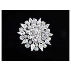 Large Layered Domed Rhinestone Snowflake Brooch Pin