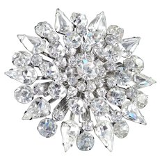 Large Layered Domed Rhinestone Snowflake Brooch Pin