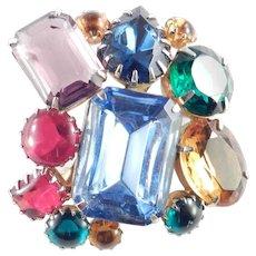 Rhinestone Glass Cabochon Cluster Brooch Pin