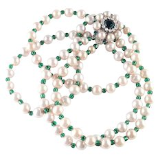 Hobe 1965 Glass Bead Faux Pearl Necklace Rhinestone Clasp