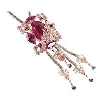 Snake Chain Lariat Bolo Rhinestone Art Glass Fringe Pendant Choker Necklace
