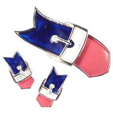 Enamel Red White Blue Patriotic Buckle Brooch Pin Earrings Demi Parure Set