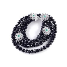 Retro Deco Glass Bead Rhinestone Faux Jade / Onyx Cabochon Necklace Earrings Set