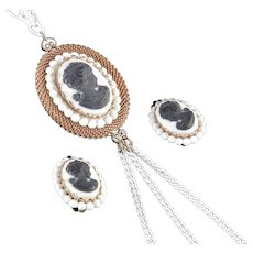 Cameo Pendant Necklace Earrings Demi Parure Set