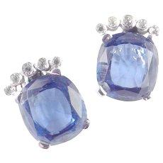 Ceylon Cut Faux Sapphire Art Glass Rhinestone Earrings Rhodium Plate