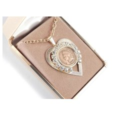 JoAnne Jo Anne Jewels Antique Indian Head Penny Rhinestone Heart Pendant Necklace Original Box NOS