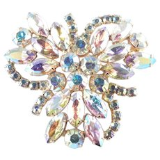 Large Aurora Borealis Rhinestone Trefoil Shield Brooch Pin