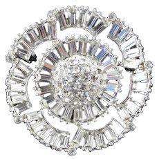 Baguette Rhinestone Dome Brooch Pin