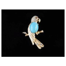 Jomaz / Mazer Rhinestone Cabochon Figural Parrot Bird Pin Brooch