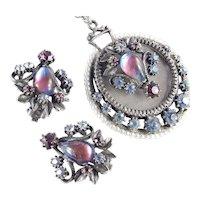 Florenza Rhinestone Dragon's Breath Cabochon Faux Pearl Pendant Necklace Earrings Set