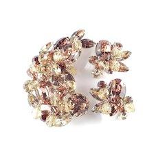Kramer Rhinestone Glass Bead Brooch Pin Earrings Demi Parure Set