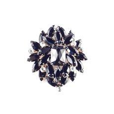 Rhinestone Art Glass Layered Shield Brooch Pin