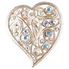 Large Aurora Borealis Rhinestone Heart Brooch Pin