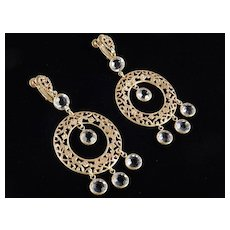 Russian Gold Tone Filigree Crystal Dangle Chandelier Earrings