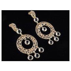 Russian Gold Tone Filigree Crystal Dangle Chandelier Earrings