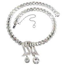Eisenberg Rhinestone Choker Necklace Ribbon Overlay w/ Briolette Drops