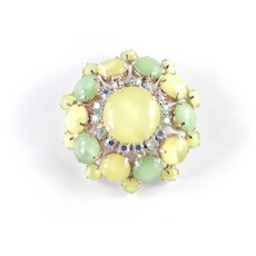 Domed Opalescent Glass Cabochon Rhinestone Brooch Pin