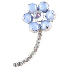 Opalescent Glass Cabochon Rhinestone Long Stemmed Flower Brooch Pin