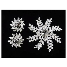 Sarah Coventry Evening Snowflake Rhinestone Brooch Pin Earrings Set