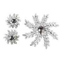 Sarah Coventry Evening Snowflake Rhinestone Brooch Pin Earrings Set