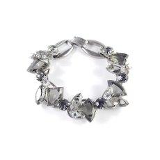 Juliana D & E Art Glass Pie Wedge Slice Fan Rhinestone Link Bracelet