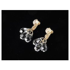 Miriam Haskell Crystal Glass Briolette Drops Dangle Chandelier Earrings