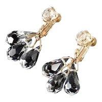 Miriam Haskell Crystal Glass Briolette Drops Dangle Chandelier Earrings