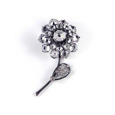 Schreiner Crystal Glass Rhinestone Flower Brooch Pin Japanned
