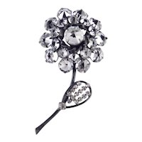 Schreiner Crystal Glass Rhinestone Flower Brooch Pin Japanned