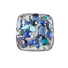 Domed Art Glass Cabochon Rhinestone Brooch Pin