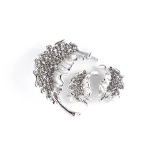 BSK Rhinestone Leaf Brooch Pin Omega Clip Earrings Set
