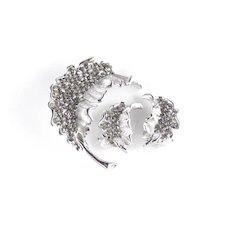 BSK Rhinestone Leaf Brooch Pin Omega Clip Earrings Set