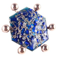 Matisse Renoir Enamel Copper Geo Hexagon Brooch Pin