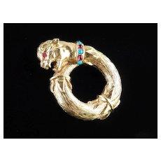 Richelieu Jeweled Rhinestone Figural Leopard Cougar Panther Cat Brooch Pin