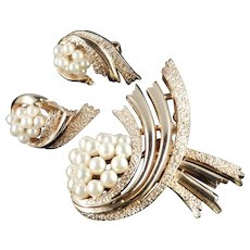 Trifari Faux Pearl Brooch Pin Earrings Demi Parure Set