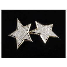 Kenneth J Lane Rhinestone Double Star Brooch Pin