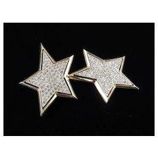 Kenneth J Lane Rhinestone Double Star Brooch Pin
